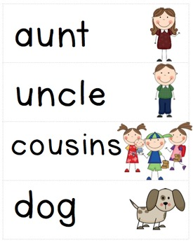 Family Themed Vocabulary in English and Spanish