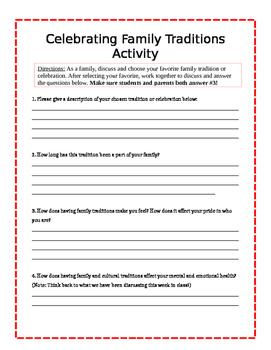Family Traditions Family Involvement Activity