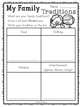 family traditions printable free by coreas creations tpt. Black Bedroom Furniture Sets. Home Design Ideas