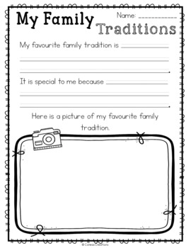 My Holiday Traditions Freebie by Renee Dooly | Teachers Pay Teachers