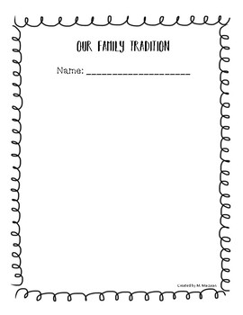 Family Traditions from Pre-kindergarten to Grade1
