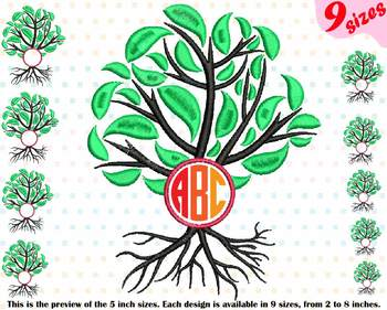 Family Tree Circle Embroidery Design Frame Deep Roots Branches Outline 206b