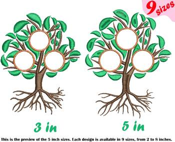 Family Tree Circle Embroidery Design Frame Deep Roots Branches Outline 207b