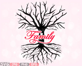 Family Tree Love SVG Word Art quote clip art wall hearts roots Branches  -533S