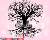 Family Tree Love SVG Word Art quote clip art wall hearts roots Branches -598S