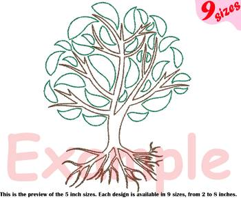 Family Tree Outline Embroidery Design love Deep Roots Branches leaves 205b