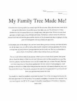 Family Tree Projectessay For Genetics By Science It Up  Tpt Family Tree Projectessay For Genetics