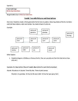 Family Tree Project Spanish 1