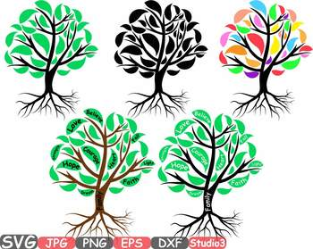 Family Tree Silhouette clipart courage faith hope love strength believe 751s