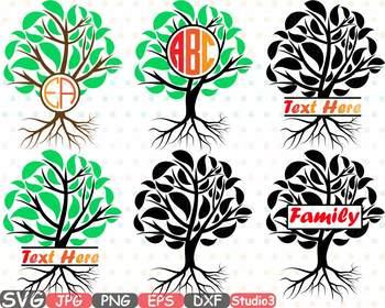 Family Tree Split Circle Silhouette clipart believe heart faith hope frame -752S