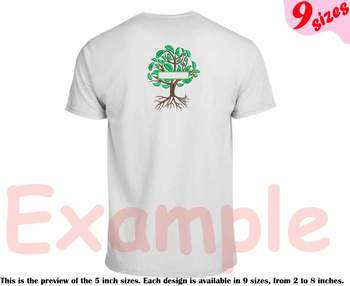Family Tree Split Embroidery Design Frame Deep Roots Branches Outline 209b