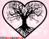 Family Tree Valentine's Day Love SVG clip art wall hearts Deep Roots -601S
