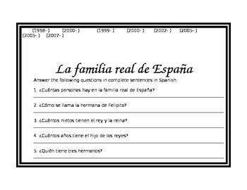 Spanish Royal Family Tree- Family Vocabulary