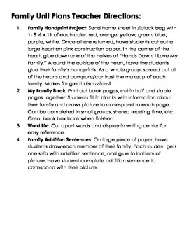 Family Unit Activities