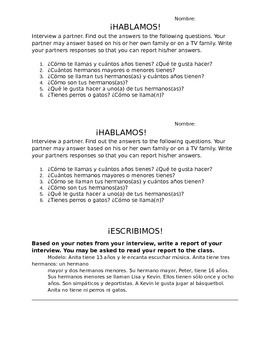 Family Unit Spanish Interview and Writing Activity
