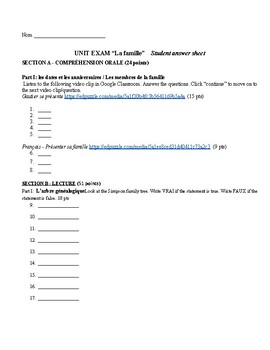 Family Unit Test Student Answer Sheet plus letter writing task