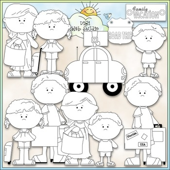 Family Vacation Clip Art 2 - Travel Clip Art - CU Clip Art & B&W