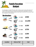 Real Inquiry Math - Family Vacation Budget Worksheet (Summer) - Back to school