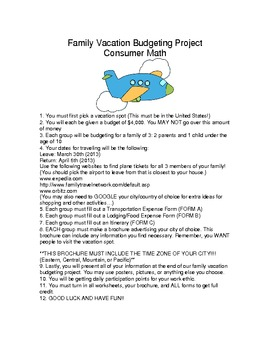 Family Vacation Budgeting Project Consumer Math