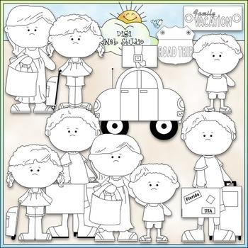 Family Vacation Clip Art Bundle - Summer Vacation - 2 Clip Art & B&W Sets