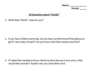 Family Values Bundle - 20 Questions, Defining Roles, Parent-Teenager Assessment