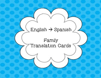 Family Vocab Flashcards in Different Langauges