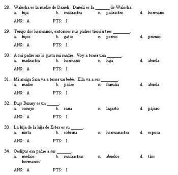 Family Vocab Test Question Bank--Lv 1