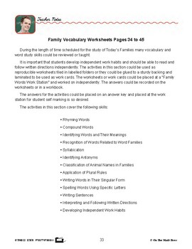 Family Vocabulary Gr. 2-3 - Lesson Plan - Aligned to Common Core