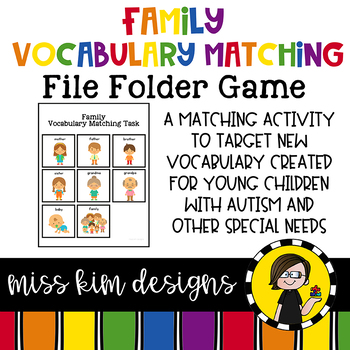 Family Vocabulary Matching Folder Game for Early Childhood Special Education