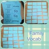 Family Vocabulary Practice Memory Game - La Familia