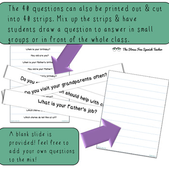 Family Vocabulary Practice, Question Pack, For English Language Learners ELL EAL