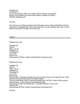 Organization for Spanish Class - Helpful Resource for Class Procedure