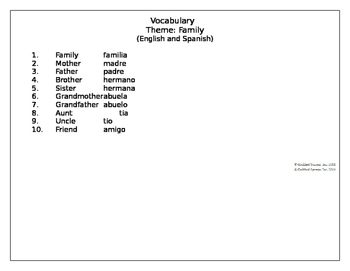 Family Week Daily Lesson Plans & Vocabulary