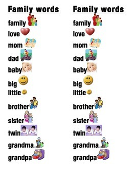 Family Word Picture Sentence Helpers