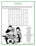Family Word Search Puzzle (Easy)