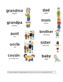 Family Word Wall Cards (English with Spanish Translations)