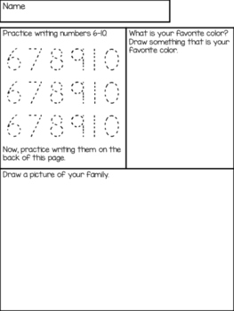 Weekly Family Work/Homework for Little Learners