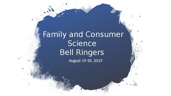 Family and Consumer Science August Bell Ringers *editable*