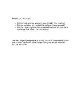 Family and Consumer Science Recipe Project