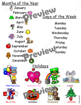 Months of the Year, Days of the Week and Holidays Chart