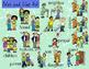 Family and Friends Clipart - Color and Line Art 32 pc set