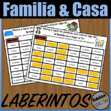 Family and House Vocabulary Mazes in Spanish