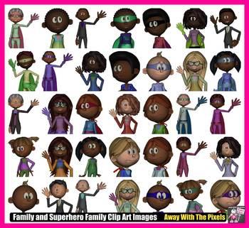 Family and Superhero Family Clip Art Set - Clipart for Teachers