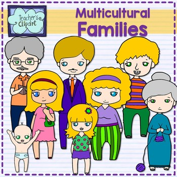 Family clipart {Multicultural}