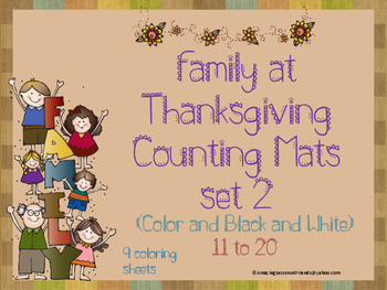 Family at Thanksgiving Counting Mats 11 to 20