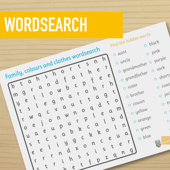 Family, clothes and colours wordsearch