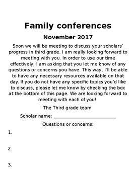 Family conferences questions
