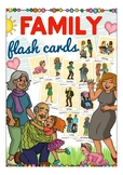 Family flash cards / flashcards ESL, English vocabulary pictures family members