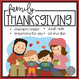 Family for Thanksgiving Emergent Reader and Literacy Materials