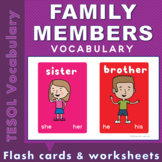 Family members vocabulary cards